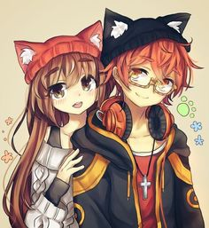 anime neko he Anime Wolf, Manga Anime, Anime Girl Drawings, Anime Couples Drawings, Anime Girl Neko, Manga Girl, Anime Amor, Cute Anime Coupes, Anime Love Couple