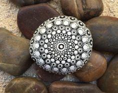 Black and White Dot Painted Stone, Original Hand Painted Rock Art, Mandala Stone, Nature Art