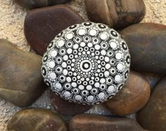Black and White Dot Painted Stone, Original Hand Painted Rock Art, Mandala Stone, Nature Art