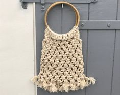 Handmade in macramé, with beige cord and bamboo handle diameter) / Dimension: x x Handmade Items, Handmade Gifts, Crochet Top, Beige, Trending Outfits, Unique Jewelry, Diy, Vintage, Women