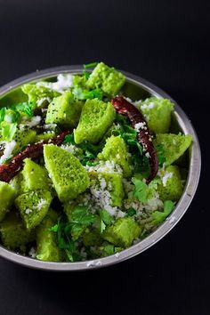 Matar Dhokla - Steamed savory cake made with green peas and chickpea flour Veg Recipes, Indian Food Recipes, Cooking Recipes, Healthy Recipes, Ethnic Recipes, Veg Starter Recipes, Recipies, Snack Recipes, Gujarati Cuisine