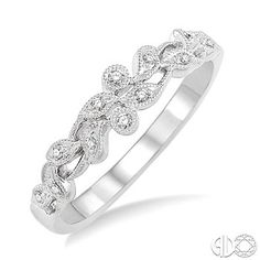 1/20 Ctw Round Cut Diamond Wedding Band in 14K White Gold