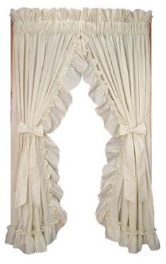 Stephanie Country Ruffle Priscilla Curtains Pair With Bow Tie Backs