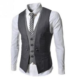 New Autumn Men Vest Suit Waistcoats British Style Casual Blazer False Two Vest Double Breasted Mens Slim Fit Dress Suit Vests Outfits Damen, Vest Outfits, Fashion Night, High Fashion, Mens Fashion, Fashion Ideas, Fashion 2016, Autumn Fashion, Fashion Trends