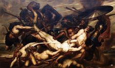 The Greeks and Trojans fighting over the body of Patroclus. 1836. Antoine Joseph Wiertz Belgian. 1806-1865. oil /canvas.