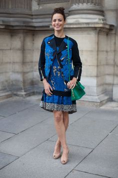 Bérénice Bejo is show-ready in a matching blue jacket and dress.