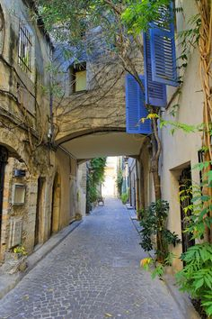 Blue shutters, Antibes, France, old town