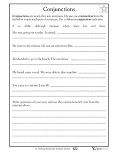 Conjunctions are words that join sentences. In this writing worksheet, your child gets practice combining two sentences into one using different conjunctions. 1st Grade Writing Worksheets, Language Arts Worksheets, Third Grade Writing, First Grade Reading, Teaching Language Arts, Grammar Worksheets, Teaching Writing, Worksheets For Kids, Writing Activities