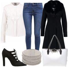 Per questo outfit. jeans slim fit, bellissima camicia bianca con collo alla coreana e romantiche rouches, cappottino nero con colletto fur, scarpe nere con lacci, borsa bianca e nera con fiocchetto e braccialetto brillante per illuminare il look.