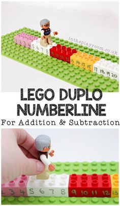 LEGO Duplo Number Line for Addition and Subtraction - easy to prepare STEM activity with Lego