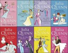 "The Bridgerton series by Julia Quinn - ""Eight siblings, alphabetically named. They bicker, they joke, but they love each other fiercely.""   UK covers."
