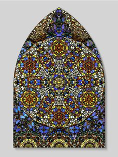 "Damien Hirst, ""Observation - The Crown of Justice"" - 2006. Butterflies and household gloss on canvas, 2803 x 1830 mm 