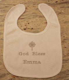 Free Personalization Baby's Christening Bib by ChainStitchers, $16.00