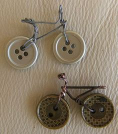 Pins made from old buttons - a great way to share an old family item with several family members...new buttons on the outfit, and pins for some others from the original buttons. LOVE IT!