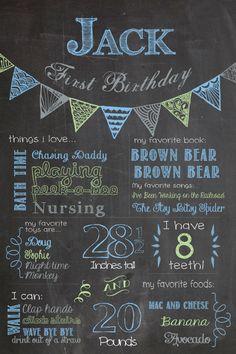 Birthday Chalkboard Poster  Bunting Style / by SuziQPrintShop, $12.50
