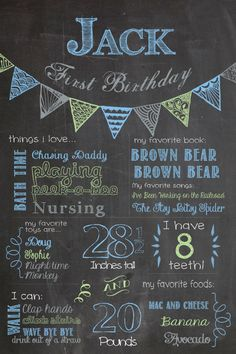 Birthday Chalkboard Poster - Bunting Style / Printable / Boys First Birthday Sign / Pennant Banner / on Etsy, $12.50
