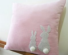 Two Little Bunnies Suede Cushions Exclusive to Global Traveller Homewares