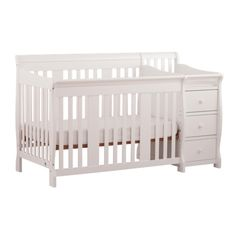Stork Craft Portofino 4-In-1 Fixed Side Convertible Crib Changer - White 							 							 							- Online Only
