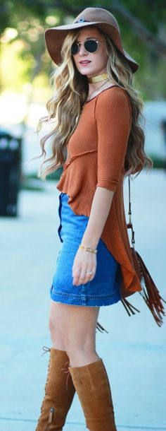 Boho fall outfit styled with lace up boots, rust top, button up skirt, and fringe crossbody bag... - Street Fashion