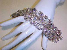 Vintage Aurora Borealis Rhinestone Bracelet by darsjewelrybox