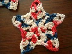 Free Crochet Patriotic coaster Pattern-Grannie's Star