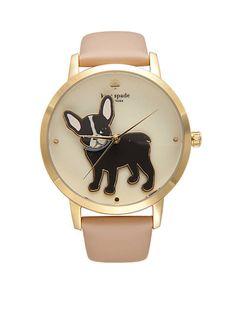 kate spade new york® Gold-Tone French Bulldog Grand Metro Watch