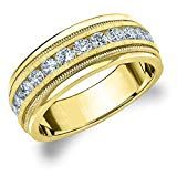 Eternity Wedding Bands LLC Yellow Gold Diamond Men's Satin Finish Milgrain Band cttw, H-I Color, Clarity) Size 9 Total Carat Round Buying An Engagement Ring, Engagement Rings For Men, Perfect Engagement Ring, Mens Diamond Wedding Bands, Diamond Bands, Diamond Cuts, Expensive Diamond Rings, Thing 1, Cool Wedding Rings