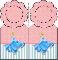 Cinderella in Pink and Light Blue: Free Party Printables, Images and Backgrounds.