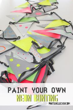 This NEON HAND PAINTED DIY BUNTING is and EASY CRAFT  a great way to DECORATE a large space cheaply for a PARTY.  Customise to your own colour scheme.  Why not pin for later, or head to the blog for details of this and many more party decoration ideas and instructions. #buntingideas #easybunting #DIYbunting #artydecorations #partydecoratingideas #neonparty #neondecorations #easypartyideas #teenpartyideas #weddingideas #weddingdecorations #homemade #handmade #neonparty #geometricpattern