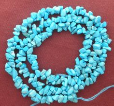 Sleeping Beauty Turquoise Chip Beads Blue 18 Inch Strand  Lot # 58