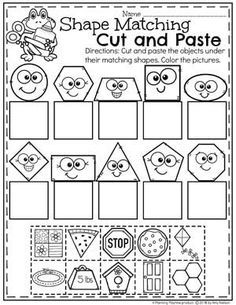 Shape Matching Cut and Paste Worksheets for Kindergarten. #kindergarten #kindergartenmath #shapes #geometry #mathworksheets #shapesworksheets #kindergartenworksheets