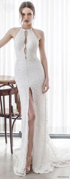asaf dadush 2017 bridal sleeveless jewel halter keyhole neckline full embellishment high slit elegant sheath wedding dress open back chapel train (08) mv -- Asaf Dadush 2017 Wedding Dresses