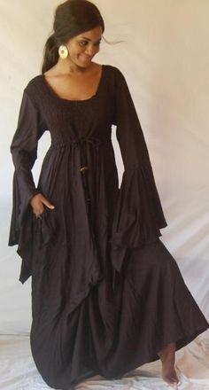 BLACK DRESS BALLOON SMOCKE RUFFLE DESIGNER   Dress   Lotus Traders Clothing