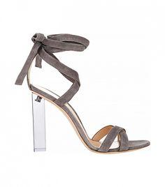 Gianvito Rossi Lucite Heel Ankle-Tie Sandals