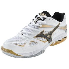 White/Black Mizuno Women's Wave Spike 14 Volleyball Shoes at Volleyball.com