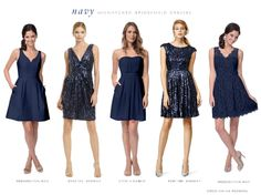 Navy blue mix and match bridesmaid dresses