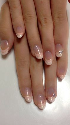 Gel Manicure Holiday Wedding Nails Ideas For 2019 Frensh Nails, Nail Manicure, Diy Nails, Acrylic Nails, Nail Polish, French Manicure Nail Designs, Nail Tip Designs, French Tip Nails, French Manicures