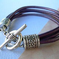 Metallic Berry Womens Purple Leather Bracelet  Toggle Closure Four Strand  - Urban Survival Gear USA