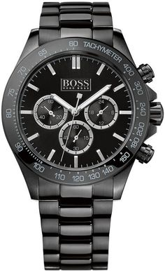 ♠ GENTLEMEN'S CLUB ♠ Hugo Boss Mens Black Steel Bracelet Watch in Black for Men