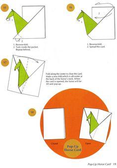 pop-up horse card 3 Envelopes, Origami Diagrams, Horse Cards, Origami Envelope, Dover Publications, Popup, Washi, Bookmarks, Decoupage