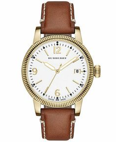Burberry Women's Swiss Tan Leather Strap Watch 38mm BU7852 - Women's Watches - Jewelry & Watches - Macy's