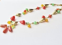 Vintage Topaz, Amber Colored Necklace with Quart Like and Brass Accents, Costume Jewelry