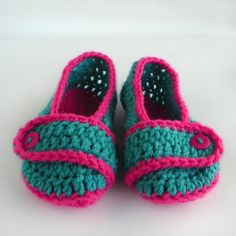 Teal With Hot Pink Toddler Crochet Slippers