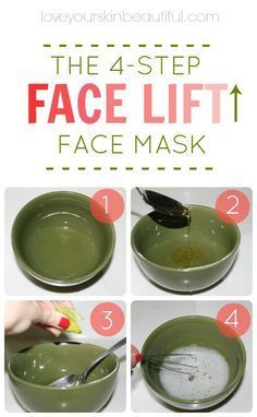 Tighten up your skin with my favorite DIY, homemade, 4-step face mask! The Instant Face Lift Soufflé: 1 egg white (tightens, lifts, and firms) 1 lemon or lime wedge, squeezed (brightens, balances) 1 spoonful of honey (moisturizes, hydrates) Directions: In a little bowl, whis