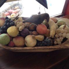 Antique stone fruit, love the pale tones. Colonial Cottage, Dutch Colonial, Fruit Love, Primitive Homes, Prim Decor, Bread Bowls, Stone Fruit, Needful Things, Antique Stores