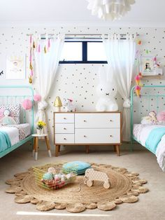 Simple ideas when planning a shared bedroom for girls. Read more on the blog www.fourcheekymonkeys.com or tap image to visit. via @4cheekymonkeys