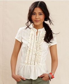 Tommy Hilfiger Top, Short-Sleeve Ruffle Peplum - Womens - Macy's