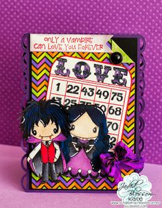 Good Morning My Crafty Friends. Today is my Day over at Jaded Blossom . I decided to make a Vamp Card, love my little Vampire he is j. Valentine Bingo, Love You Forever, Vampires, Zombies, Cutting Files, Jade, Corner, Crafty, Canning