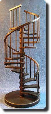 1:12 Handmade spiral staircase by CDHM Artisan Don Lorenzen