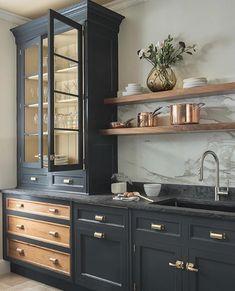 modern kitchen design with navy kitchen cabinets, black kitchen cabinets in modern farmhouse kitchen Home Decor Kitchen, Interior Design Kitchen, Home Design, New Kitchen, Kitchen Ideas, Kitchen Designs, Kitchen Sinks, Awesome Kitchen, Brass Kitchen
